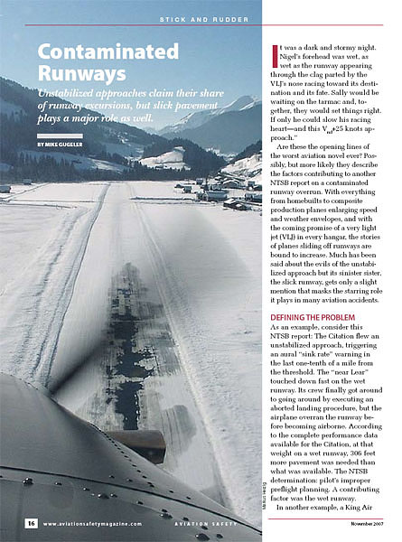 Aviation Safety Magazine - Contaminated Runways Nov 2007