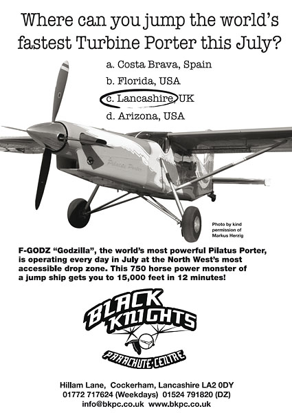 Black Knights Parachute Centre - Advertissement 2004