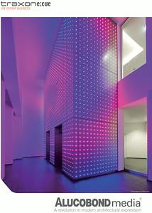 Fotos einer LED-Fassade für ALUCOBOND und Traxon