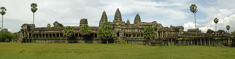 Panoramic image of Angkor Wat Temple Complex at Siem Reap, Cambodia. Angkor Wat (or Angkor Vat) is a temple complex at Angkor, Cambodia, built for King Suryavarman II in the early 12th century as his state temple and capital city. As the best-preserved temple at the site, it is the only one to have remained a significant religious centre since its foundation—first Hindu, dedicated to Vishnu, then Buddhist. The temple is the epitome of the high classical style of Khmer architecture. It has become a symbol of Cambodia, appearing on its national flag, and it is the country's prime attraction for visitors.