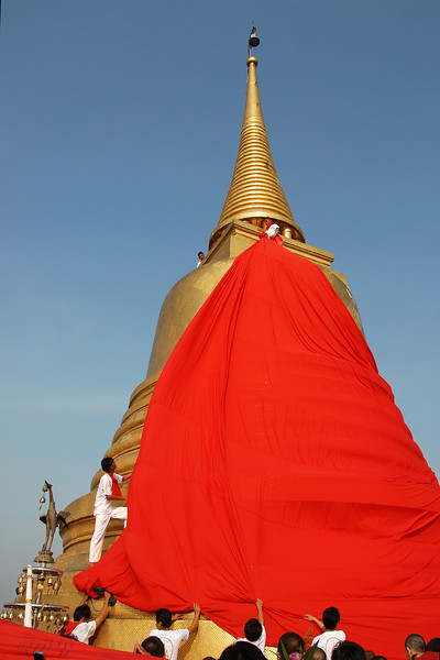 Buddhist temple being inaugurated in Bangkok, Thailand.