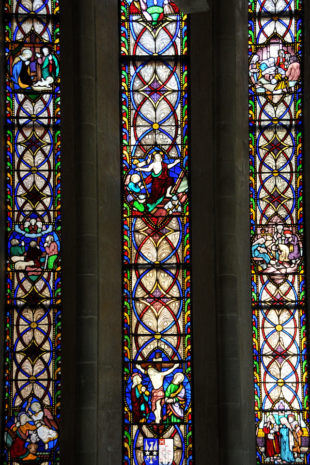 Stainglass showing the life of Jesus Christ. The Afghan Church is located in Colaba, Mumbai. Work on the church of St. John the Evangelist (Afghan Church) was begun in 1847 by the British to commemorate the dead of the disastrous First Afghan War of 1838. It was consecrated in 1858 and work on the steeple was concluded in 1865. The church is located in Navy Nagar in the Colaba area of Mumbai (Bombay).