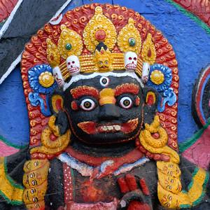 Kala Bhairava deity of Newars, with string of skulls at Durbar Square, Kathmandu, Nepal.