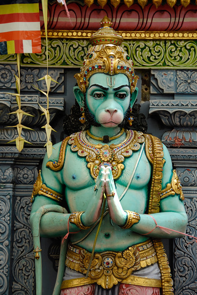 Pavan putra Hanumanji, at the entrance of a Hindu temple in Little India, Singapore