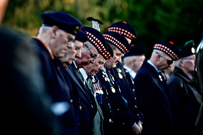 Ex-Servicemen pray during the Inverness Remembrance Service and Parade.  Picture: Paul Campbell