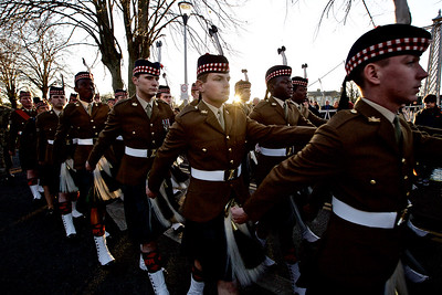 Soldiers from 3Scots march in the Inverness Remembrance Service and Parade.  Picture: Paul Campbell