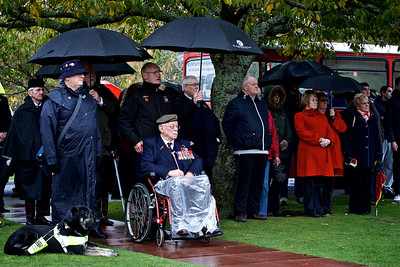 Heavy rain doesn't stop the service for Remembrance Sunday in Inverness.  Picture: Paul Campbell