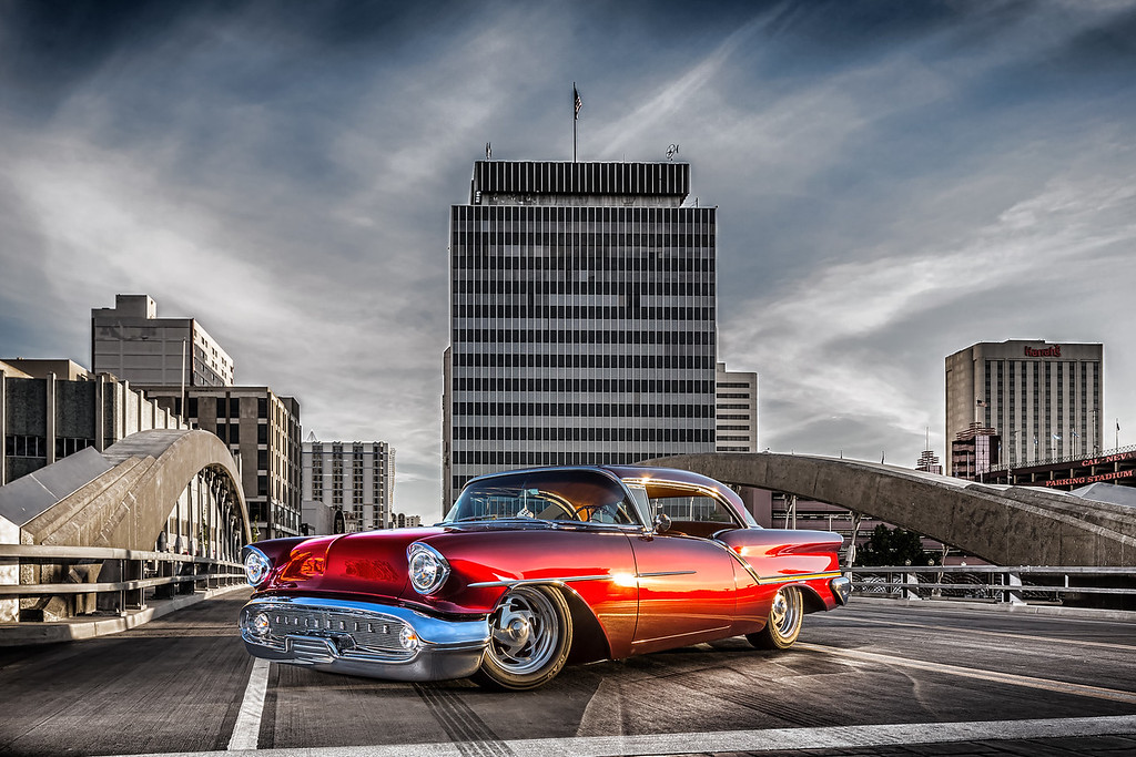 Reno Automotive and Advertisement Photographer Marcello Rostagni Photography photographs automobile in downtown reno on the new bridge at sunrise for Hot August Nights.