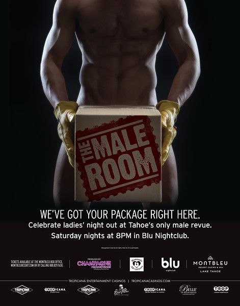 Reno Photographer Marcello Rostagni photographs portrait of male dancer for MontBleu's advertisement of the Male Room male review show.