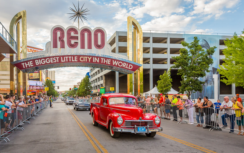 Photographs of Reno Arch with Classic cars by Hot August Nights Official Photographer Marcello Rostagni.
