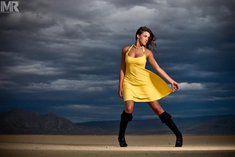 Beauty and Model photographer Marcello Rostagni photographs a portrait of a woman wearing a yellow dress in Reno, NV.