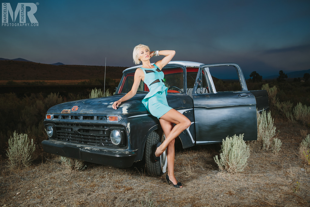 Reno Photographer Marcello Rostagni photographs glamour model with rat rod Ford Truck in the Nevada Desert outside of Reno.
