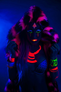Reno Photographer Marcello Rostagni photographs model in his Reno Studio using UV lights and UV reactive clothing/makeup.