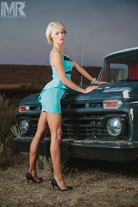 wReno Photographer Marcello Rostagni photographs glamour model with rat rod Ford Truck in the Nevada Desert outside of Reno.