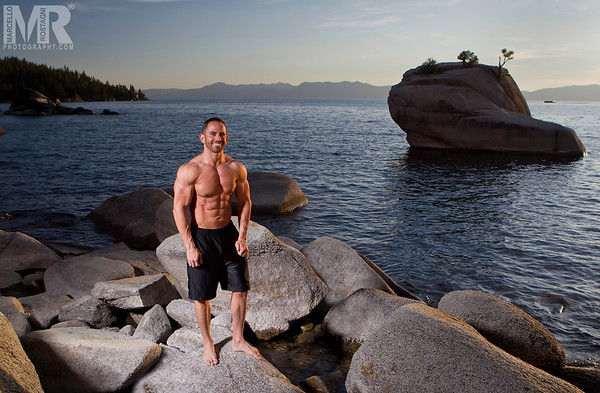 Portrait of fitness model in Lake Tahoe, NV by portrait photographer Marcello Rostagni of Reno, NV.