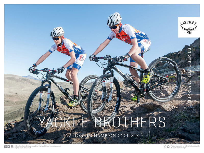 Reno Photographer Marcello Rostagni Photographs the Yackle Brothers Racing Team for Osprey Packs Poster.