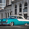 Reno Photographer Marcello Rostagni Photographs Classic Car in Downtown Reno in front of old  Amtrak Station for Hot August Nights Advertisement.