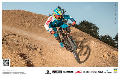 Action sports photography of professional mountain biker Teal Stetson Lee by Reno Advertisement Photographer Marcello Rostagni Photography.