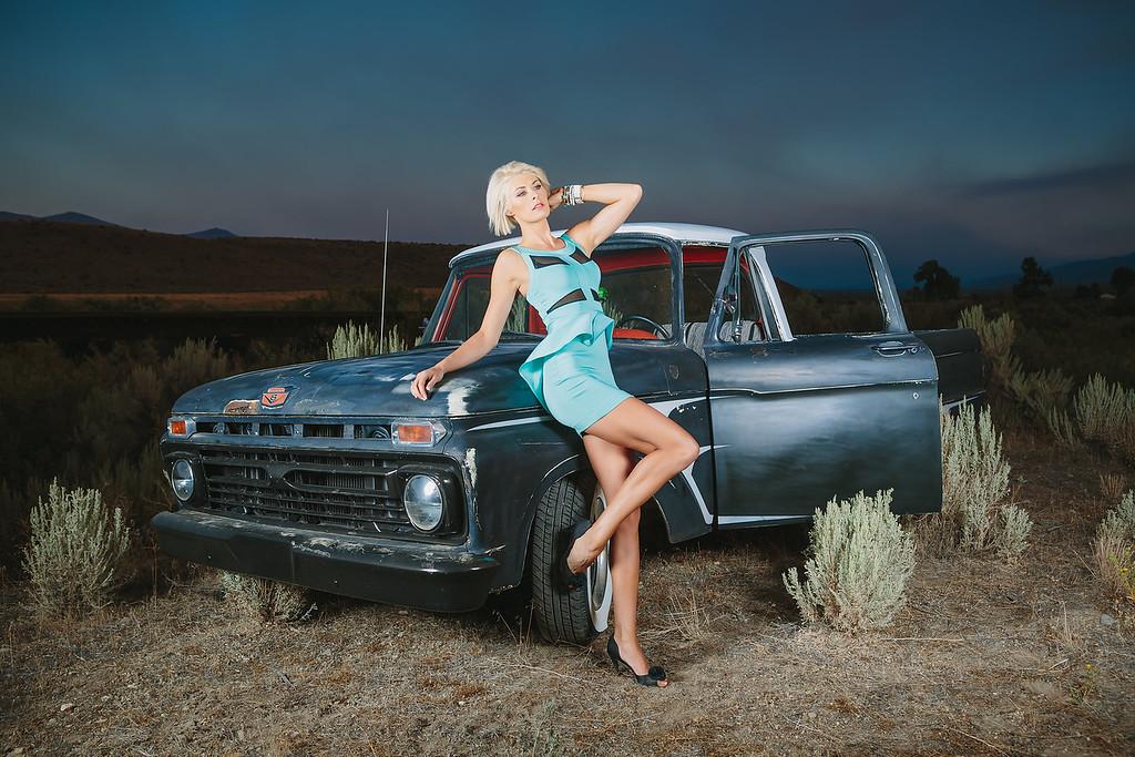 Reno Photographer Marcello Rostagni photographs glamour model with rat rod truck in the Nevada desert near Reno.