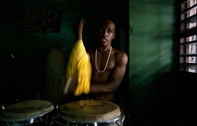 A salsa drummer