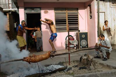 A feast for a quinceanaria in Santiago de Cuba.