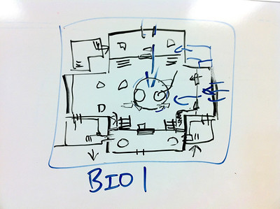 This is a preproduction whiteboard drawing I did with my environment artist and I worked out the gameplay while he figured out what the site lines might be for performance. The room turned out just about exactly how this drawing was done. This is the first video in the gallery, top left above.