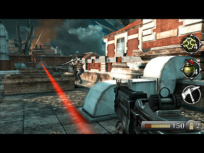 In these next pair of encounters, the player deals with enemies hopping over a wall into a courtyard. A mini-boss caps the courtyard fight. Traversal up to the roof then ensues.  The roof top fight also combines snipers and Grunts advancing in cover.