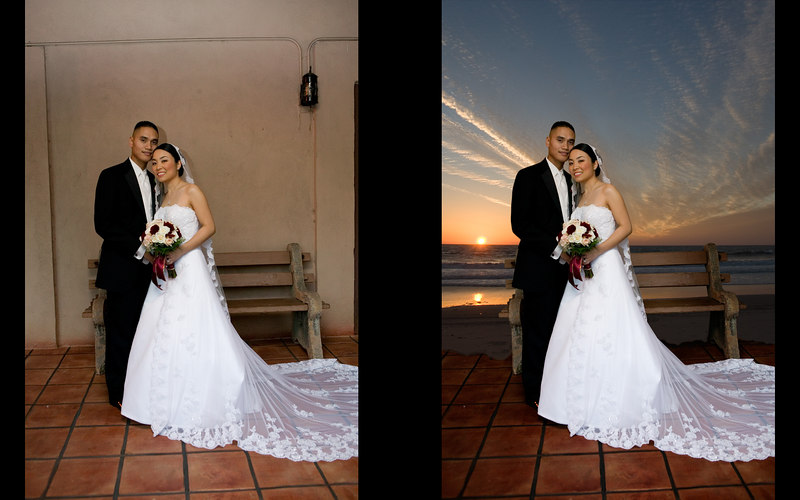 A just-for-fun edit for the couple.  They wanted a sunset background.  I have taken hundreds of photos of the sunset at the beach so I found one that had the correct perspective and composited them in while preserving the tile floor and bench.