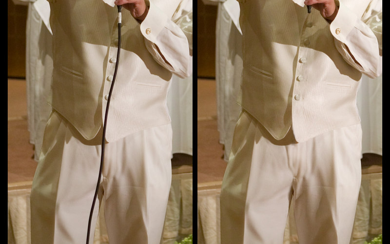 Groom requested removal of microphone cord.