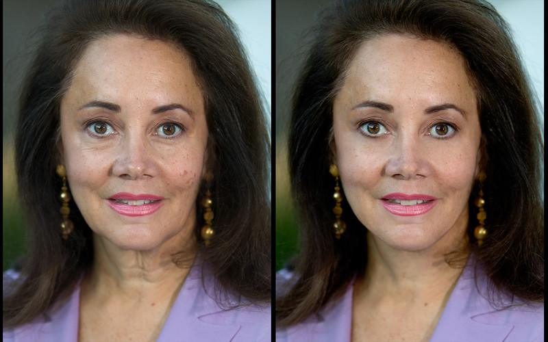 Contrast, color and exposure correction.  Fixed lipstick, removed lipstick on teeth, smoothed throat area, smoothed jawline, removed all skin blemishes, removed wrinkles around eyes, removed capillary in left eye.