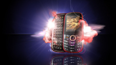 CGI cell phone sample piece.  Created from scratch. Modeled, lit and rendered phone.  Photographed cloud elements, composited and retouched.