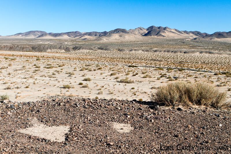 Triangle intaglios above Manix Wash in the Mojave Desert.
