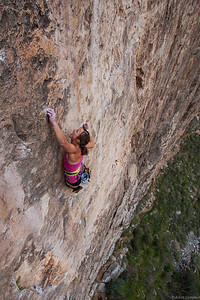 Leslie crushing Magnum Opus her first 5.14 at the Lime Kiln Canyon just outside of Mesquite.