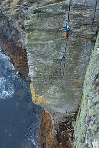 Maritime climbing in Scotland at its best! Once you abseil down the water level, you are left with only 2 practical options: climb back up the cliff, or turn yourself into a cod, and swim away (and hopefully not end up as fish & chips). Naturally, we chose the first option.