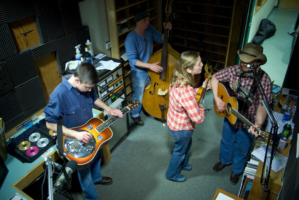 In the studio with the Snake Mountain Moonshiners.