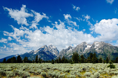 Tetons towering over Jackson Hole Grand Teton National Park