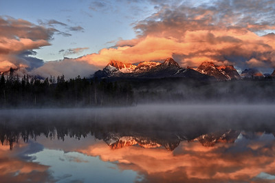 Sunrise over Little Redfish Lake Sawtooth Mountains, Idaho