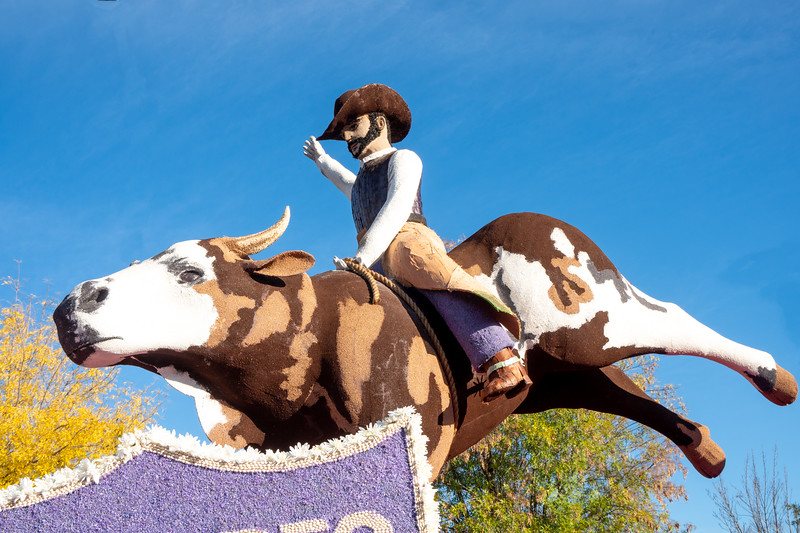 Detail of bull rider from the Cowboy Channel float