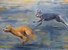 BlueDogYellowDog, 36x48, acrylic on canvas