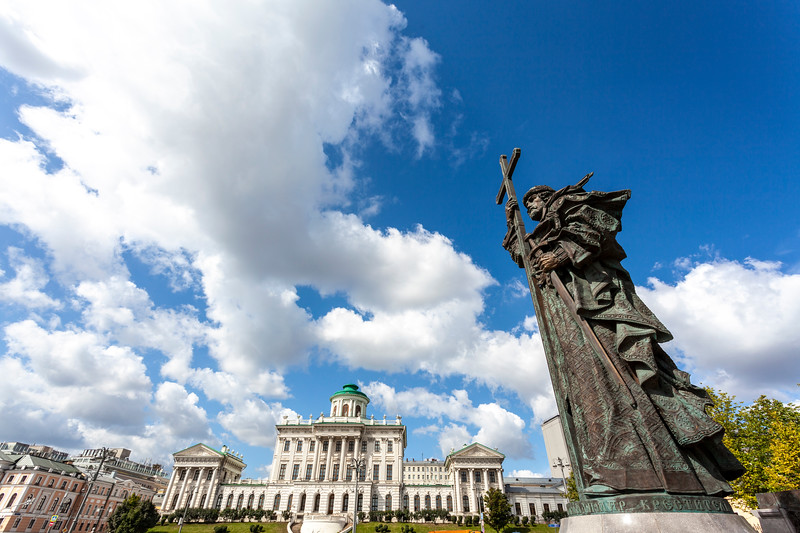 Monument to Vladimir the Great statue in Moscow, Russia