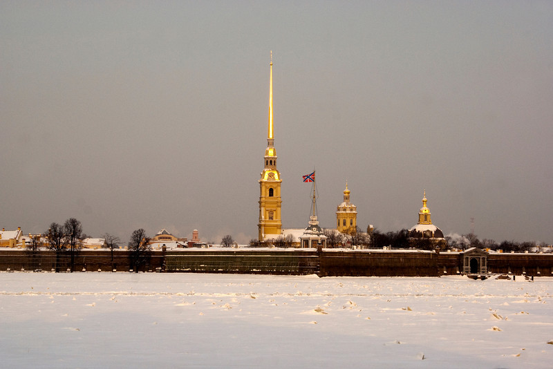 SS PETER & PAUL CATHEDRAL SEEN FROM THE HERMITAGE. ST. PETERSBURG.