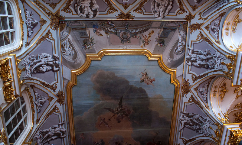 CEILING OF THE HALL WAY IN THE WINTER PALACE. THE HERMITAGE. ST. PETERSBURG.