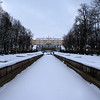 GRAND CASCADE AND GRAND PALACE SEEN FROM FROZEN WATER AVENUE. PETERHOF. RUSSIA.