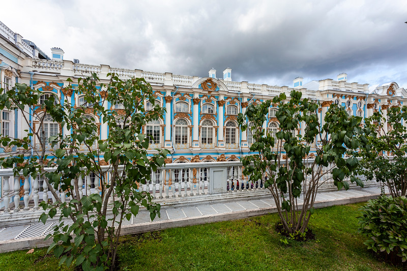 facade of Catherine's Palace in Tsarkoe Selo, Pushkin, St Petersburg, Russia