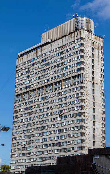 Exterior of a Soviet apartment building in St Petersburg, Russia