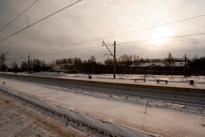 WINTER SUN AT TRAIN STATION PETERHOF. STARY PETERGOF. RUSSIA.