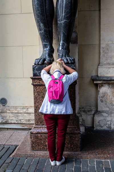 Giant Atlas statue of the Hermitage museum in St Petersburg, Russia, Europe