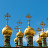 Golden domes of the Terem Palace, Kremlin, Moscow, Russia - Europe
