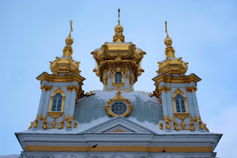 GOLDEN ROOFS. GRAND PALACE. PETERHOF. RUSSIA.