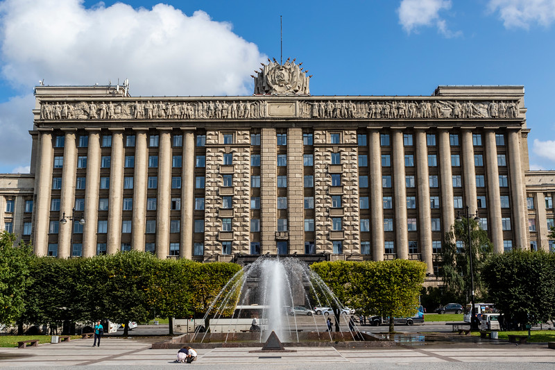 Exterior of the Dom Sovetov at Ploshchad Moskovskaya (Moscow Square) in St Petersburg, Russia, Europe